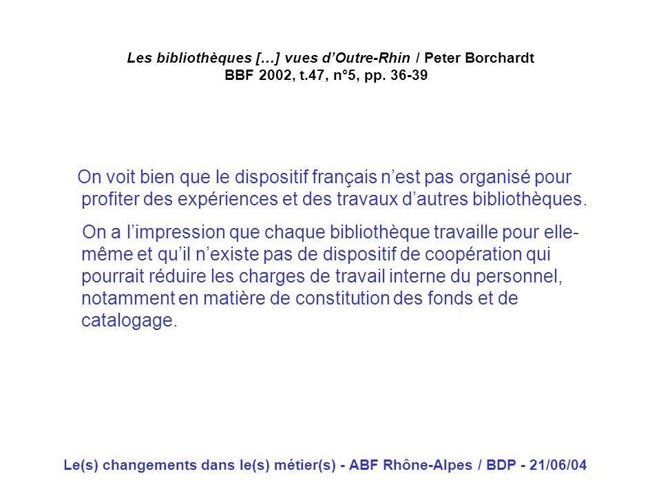 Les bibliothèques […] vues d'Outre-Rhin / Peter Borchardt BBF 2002, t